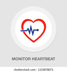 monitor heartbeat - Red heart icon with sign heartbeat. Vector illustration. Heart sign in flat design