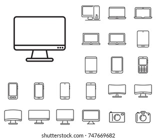Monitor icon in set on the white background.  Set of thin, linear and modern electronic equipment icons. Universal linear icons to use in web and mobile app.