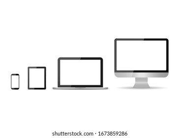 Monitor, laptop, tablet, smartphone isolated on white background. Set of mockup devices with white screen. Modern electronic gadgets. PC desktop, notebook, mobile, tablet for web communication. Vector