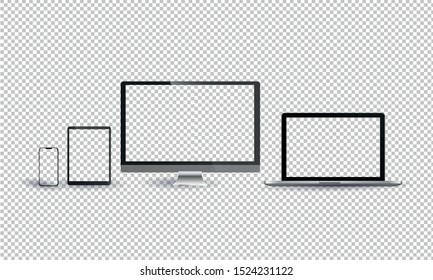 Monitor, laptop, tablet, smartphone, realistic vector set on a transparent background