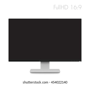 monitor mockup, modern realistic computer display with wide screen and thin frame