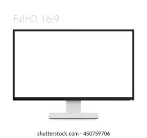 monitor mockup on white, modern realistic computer display with wide blank screen and thin frames, vector illustration