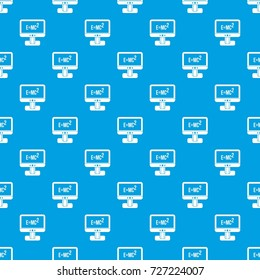 Monitor with physics formula pattern repeat seamless in blue color for any design. Vector geometric illustration