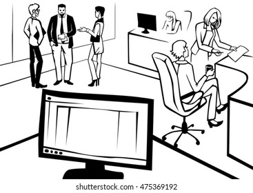 Monitor screen. Office people talk at work, hold documents. Hand drawn black and white vector illustration