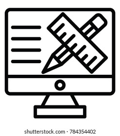 Monitor screen with scale and pen, online drafting line icon
