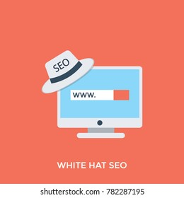 A monitor with seo screen and seo white hat, concept of internet search