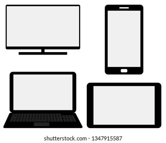 Monitor, smartphone, laptop and tablet on white