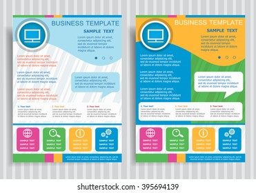 Monitor symbol on vector Brochure Flyer design Layout template, size A4. Easy to use and edit.