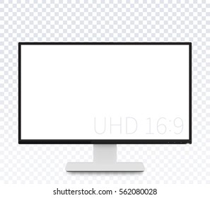 monitor vector mockup, realistic display with blank screen