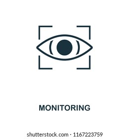 Monitoring icon. Monochrome style design from internet security collection. UI. Pixel perfect simple pictogram monitoring icon. Web design, apps, software, print usage.
