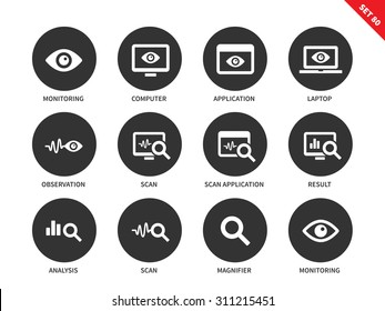 Monitoring and observation vector icons set. Icons for security and statistic systems. Web pages and apps items, computer, laptop, scanning sign, analysis, result. Isolated on white background