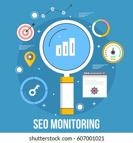 Monitoring Seo campaign for website ranking, tracking marketing progress flat vector with thin line icons