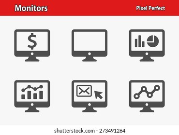 Monitors Icons. Professional, pixel perfect icons optimized for both large and small resolutions. EPS 8 format.