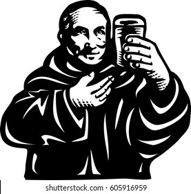monk with beer