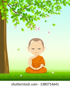 Monk Buddhism meditation sit down vector, on grass with under tree and flower background, illustration