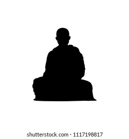 Monk in buddhism silhouette vector