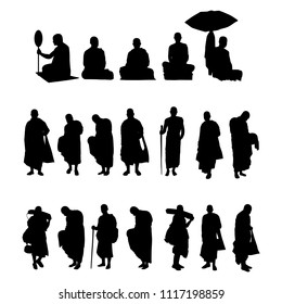Monk in buddhism silhouette vector set