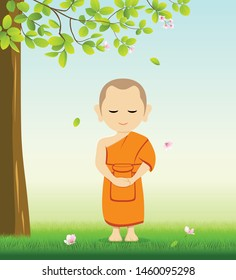 Monk Buddhism stand up vector, on grass with under tree and flower background, illustration