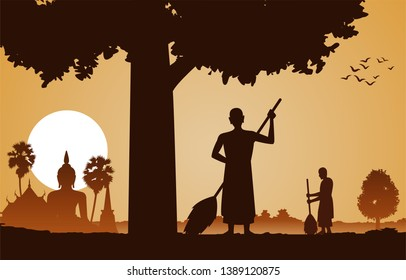 Monk clean temple area that is a routine of priest on sunset time under the tree in silhouette design,vector illustration