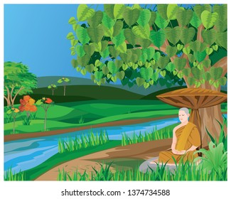 the monk meditation in forest vector design