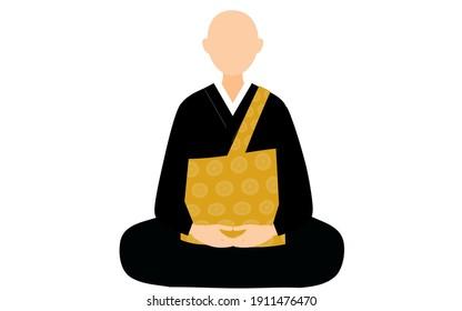 Monk partnering Zazen dressed in robe and vestment