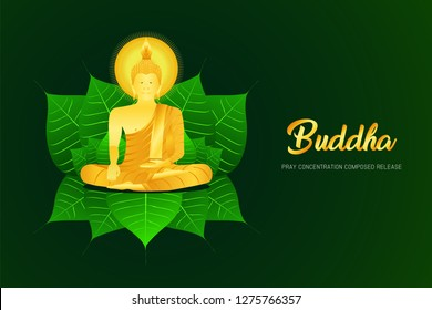 monk phra buddha pray sit on pho leaf concentration composed release religion culture faith vector illustration eps10