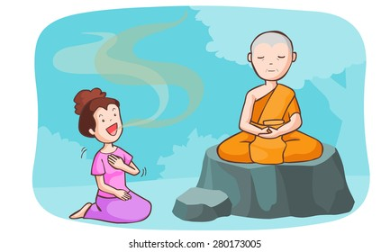 monk take meditate and the women talkative vector