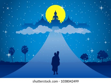 monk walk on the road head to heaven on full moon night. Mean free of suffer peace silent and dharma  .silhouette style,vector illustration