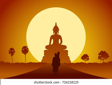 monk walk out of temple pilgrimage the road to make merit in rural and forest. for peace silent and dharma in sunset big sun behind image of buddha scene silhouette style,vector illustration