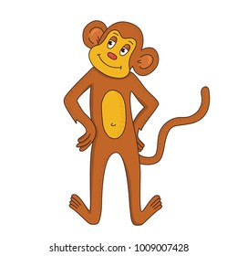 Monkey animal doodle colorful cute vector illustration