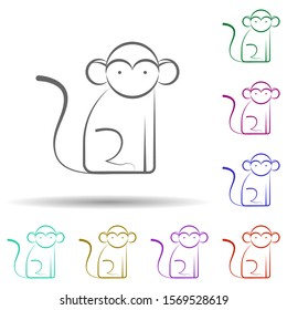 Monkey, animal in multi color style icon. Simple thin line, outline vector of biology icons for ui and ux, website or mobile application
