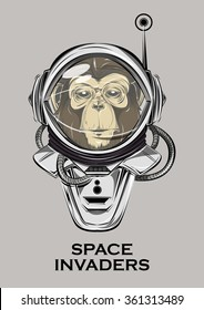 monkey astronaut. alien invader. monkey in a suit, to print t-shirts