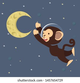 Monkey Astronaut with moon in space