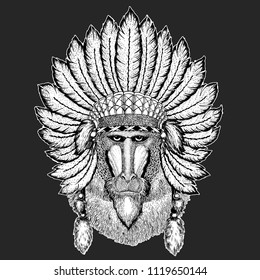 d3c5bb10169b1 Monkey, baboon, dog-ape, ape Traditional ethnic indian boho headdress  Tribal shaman