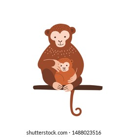 Monkey with baby sitting on tree branch isolated on white background. Family of wild exotic jungle animals. Parent with youngling, mother and child. Flat cartoon colorful vector illustration.