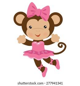Monkey ballerina vector illustration