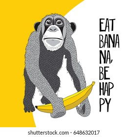 Monkey with a banana on a yellow background. Vector illustration.