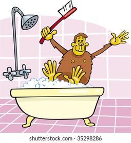 monkey in bath