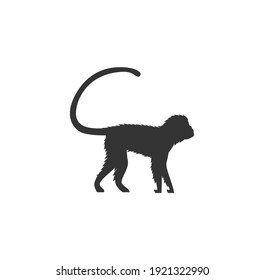 Monkey black silhouette vector on a white background