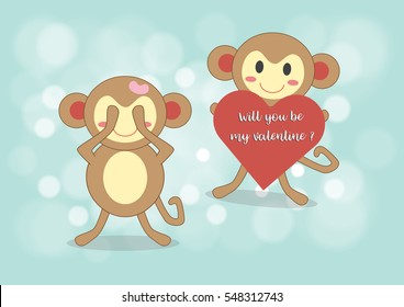 Monkey boy holding red heart with words will you be my valentine for surprise his friend, vector illustration design, Love concept