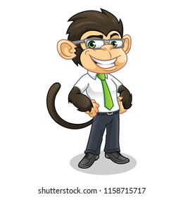 Monkey with business appearance cartoon character design vector illustration