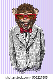 Monkey in business suit. Vector illustration for greeting card, poster, or print on clothes. Fashion Style drawing. Hipster.