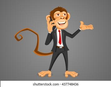 Monkey businessman talking on the phone