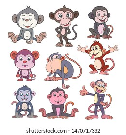 Monkey cartoon character set Cute animals. separated from the white background freely