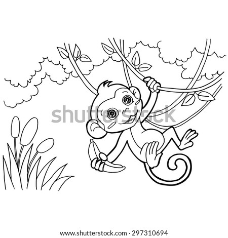 Monkey Cartoon Coloring Pages Vector Stock Vector Royalty Free