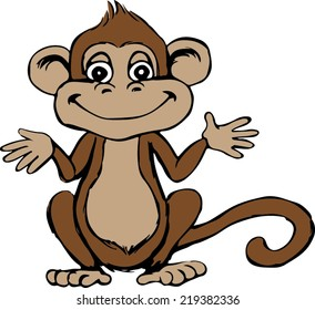 Monkey - Cartoon - Sitting - Vector Image