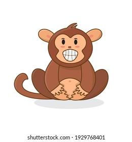 Monkey Cartoon Smiling Face Fun