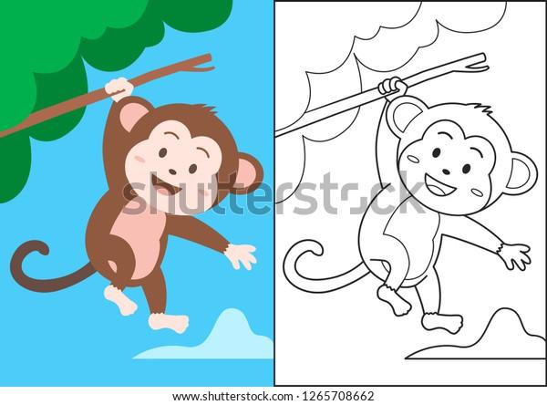 Monkey Cartoon Swinging On Tree Kids | Royalty-Free Stock Image