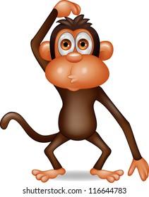 Monkey cartoon thinking