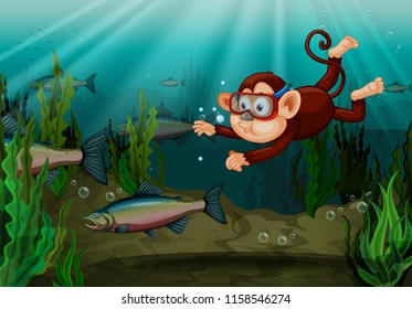 A monkey catching fish in the river illustration